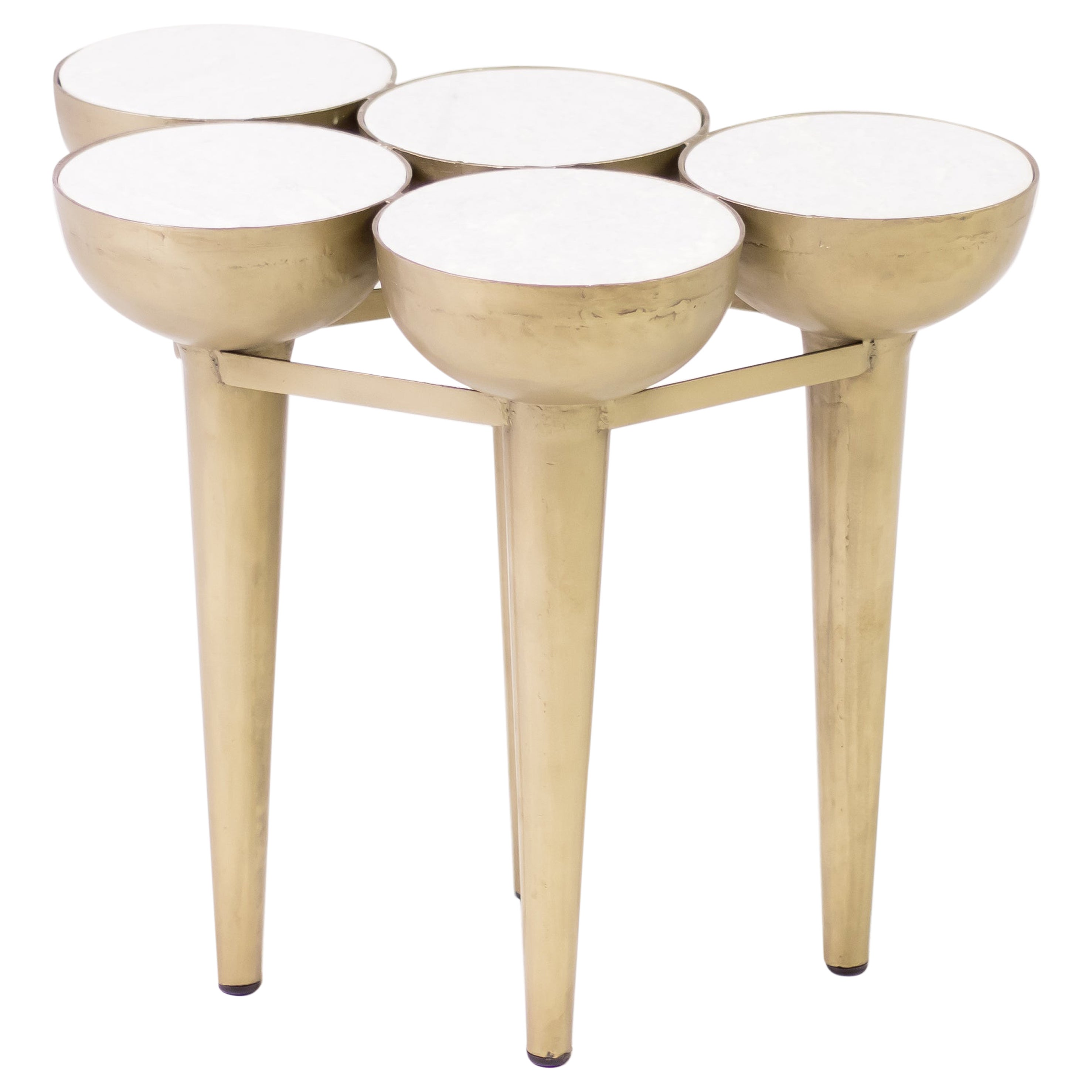 """Carrara Marble """"Gold Torch"""" Table"""