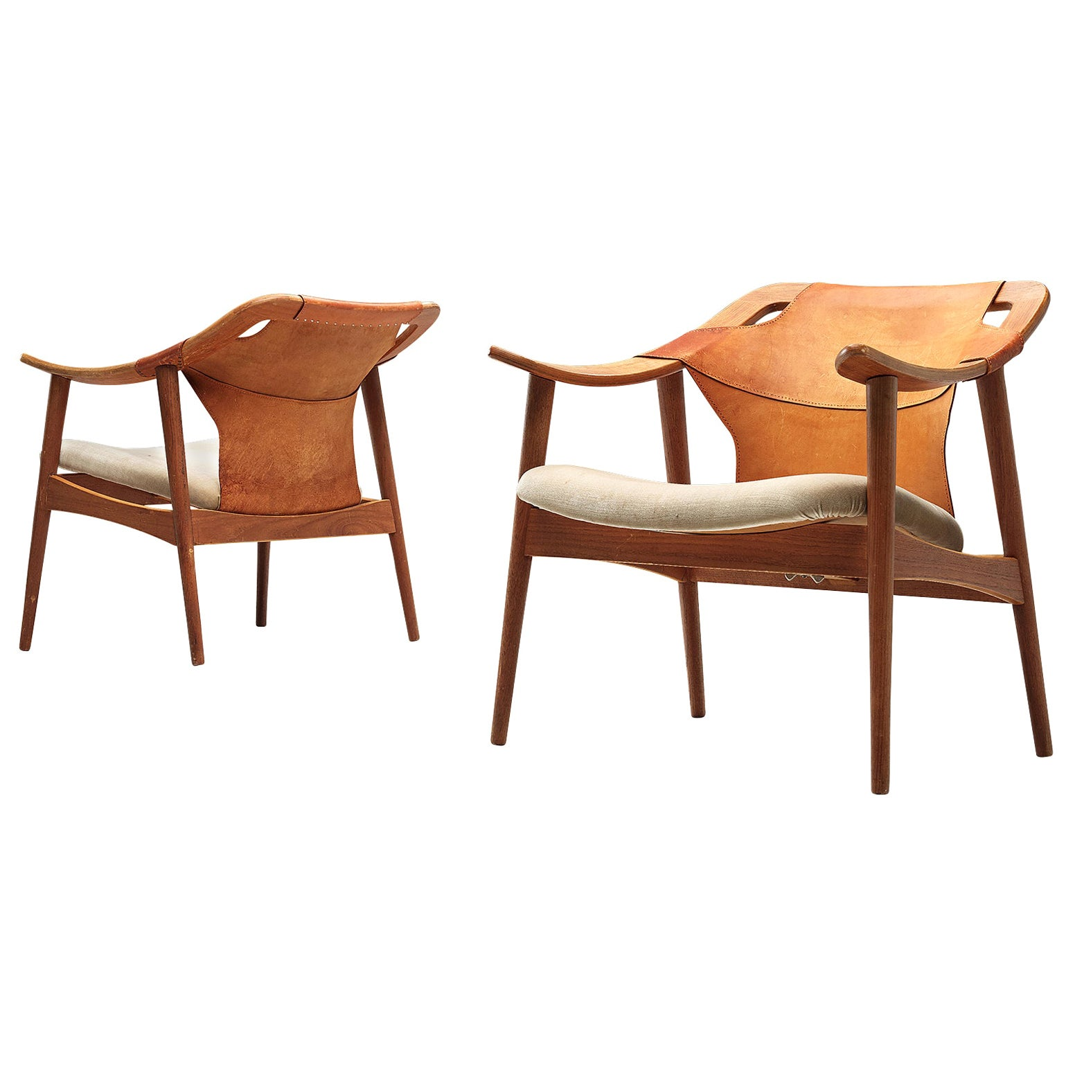 Arne Tidemand Ruud Pair of Armchairs Model '3050' in Leather and Oak