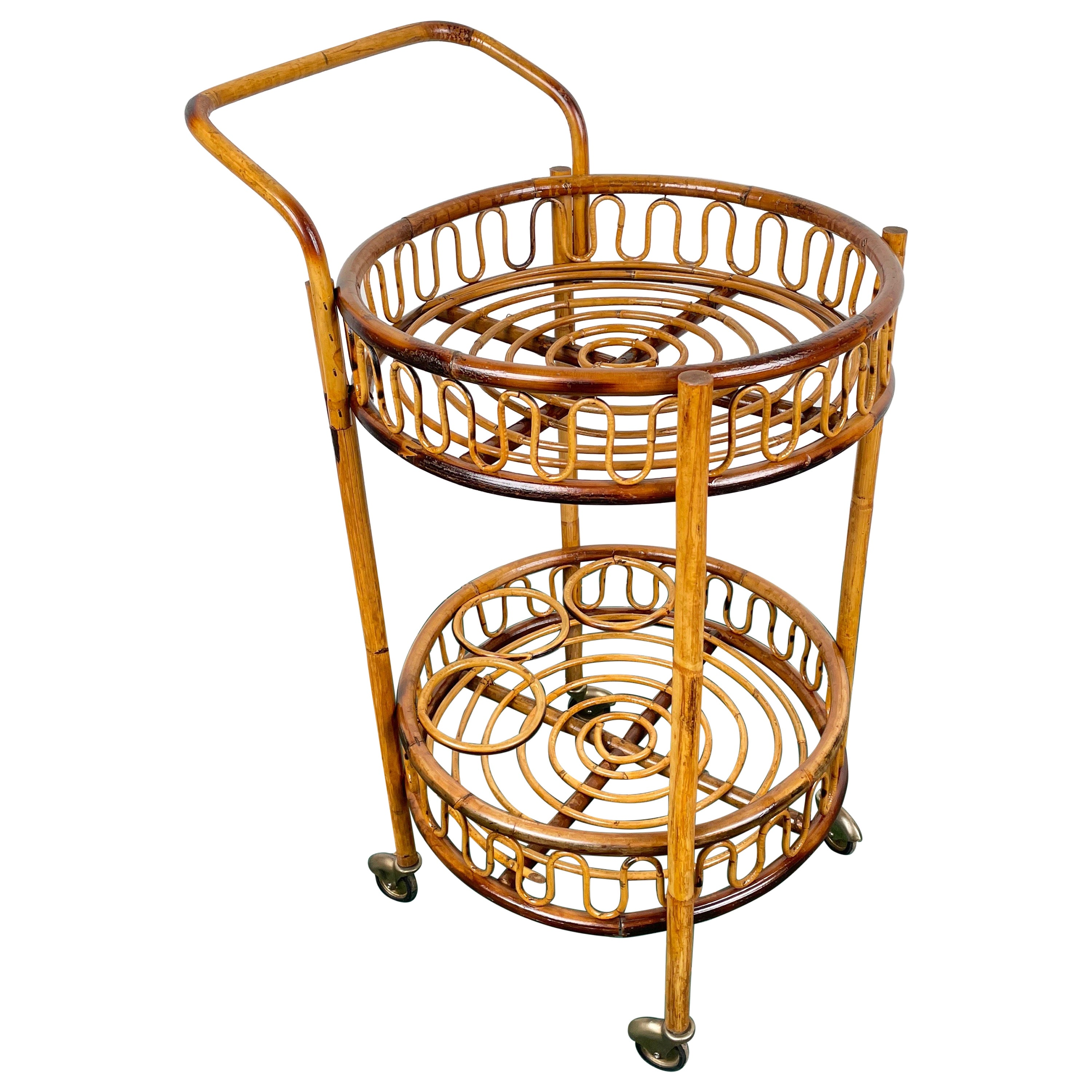Italian Bamboo and Rattan Round Serving Bar Cart, 1960s
