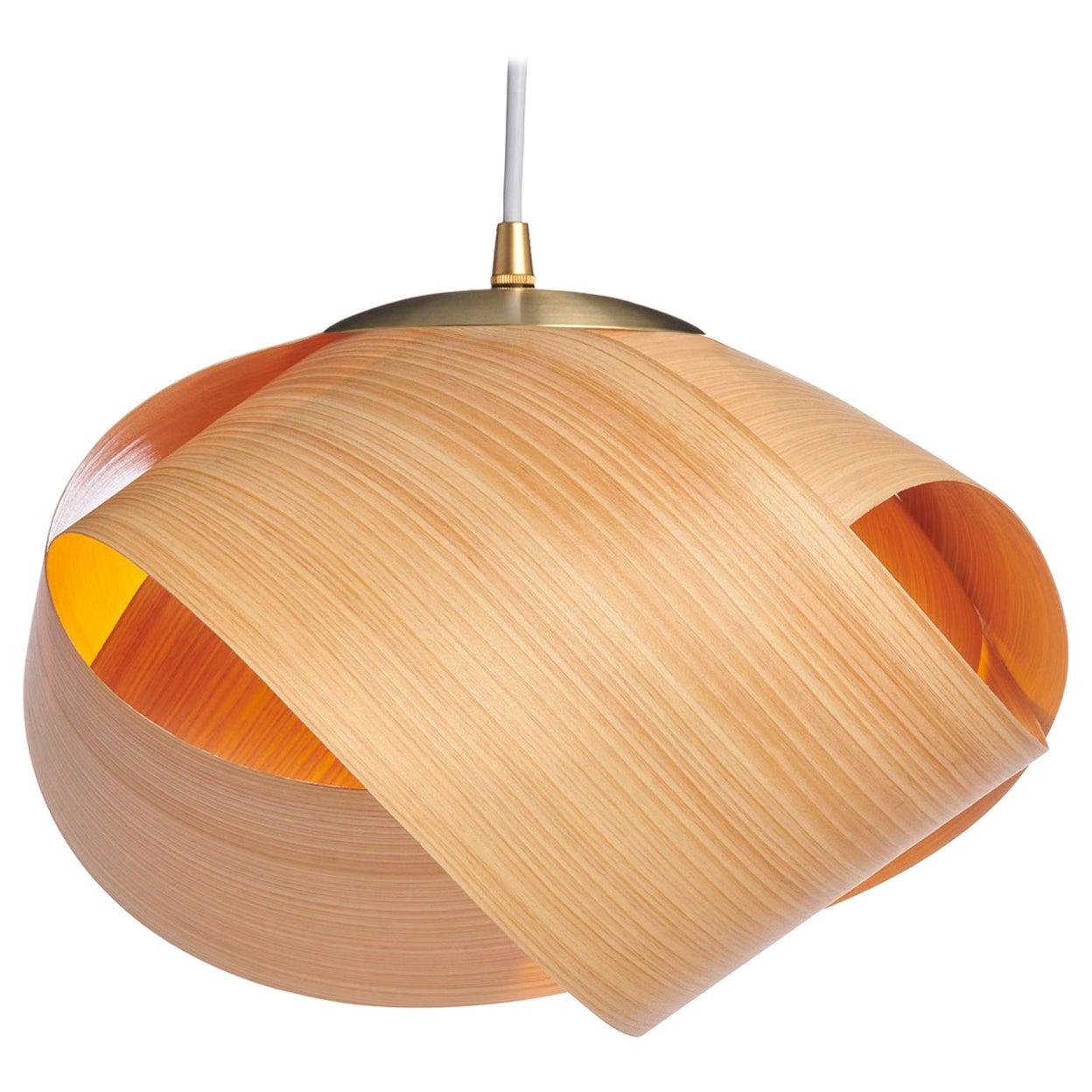 Scandinavian Design Natural Wood Pendant with Brushed Brass