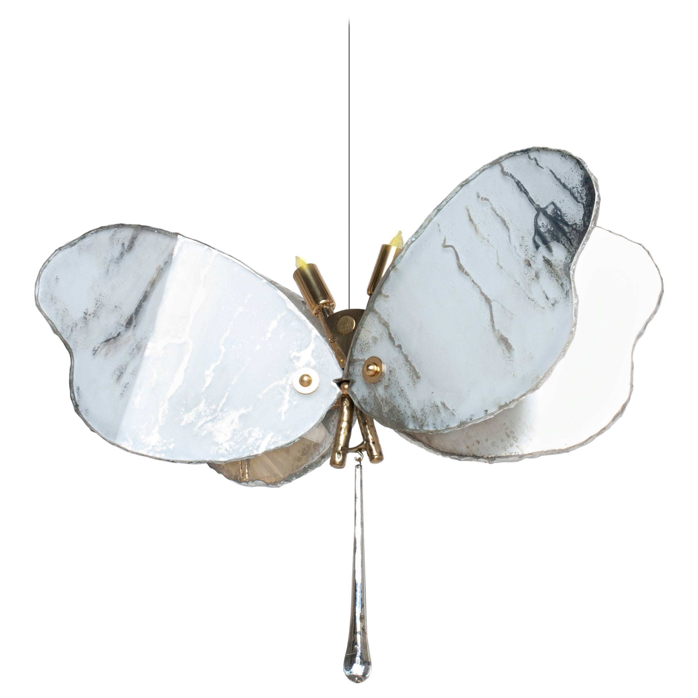 Big Butterfly Hanging Lamp White Silvered Glass, Brass Body, Crystal Drop