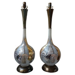 Pair of Vintage Italian Blown Glass Rooster Lamps
