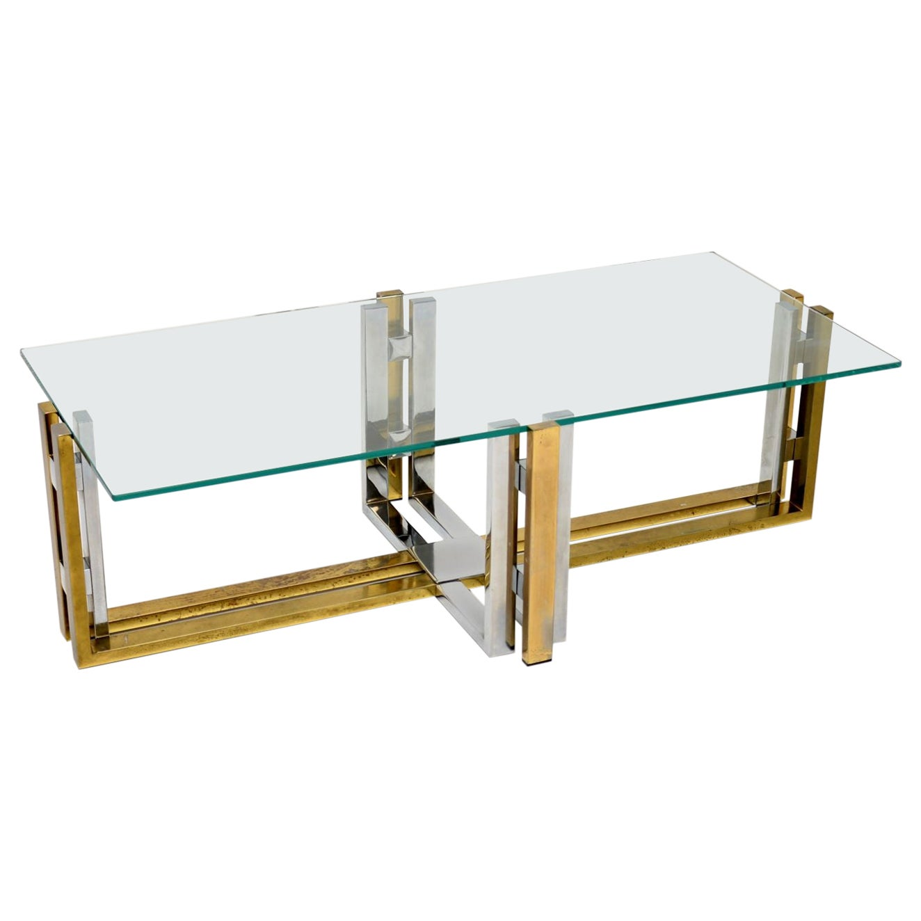 1970s Vintage Chrome Brass and Glass Coffee Table
