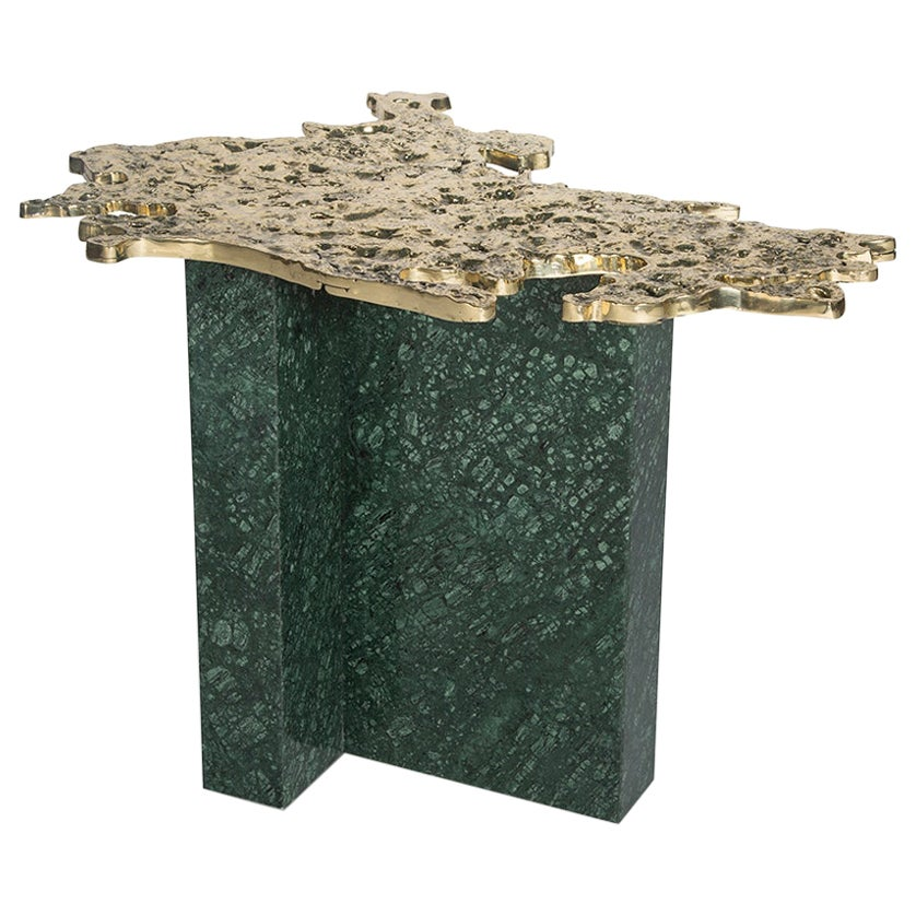 Contemporary 1-3 Side Table, Polished Patinated Brass Cast and Green Marble