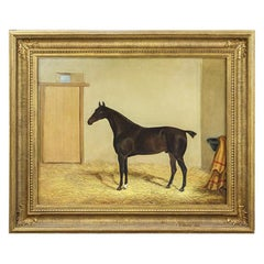 19th Century Oil on Canvas Thoroughbred Stallion in Stable