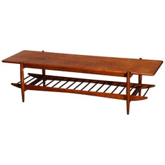 Mid Century Danish Modern Finn Juhl School Teakwood Coffee Table, circa 1950