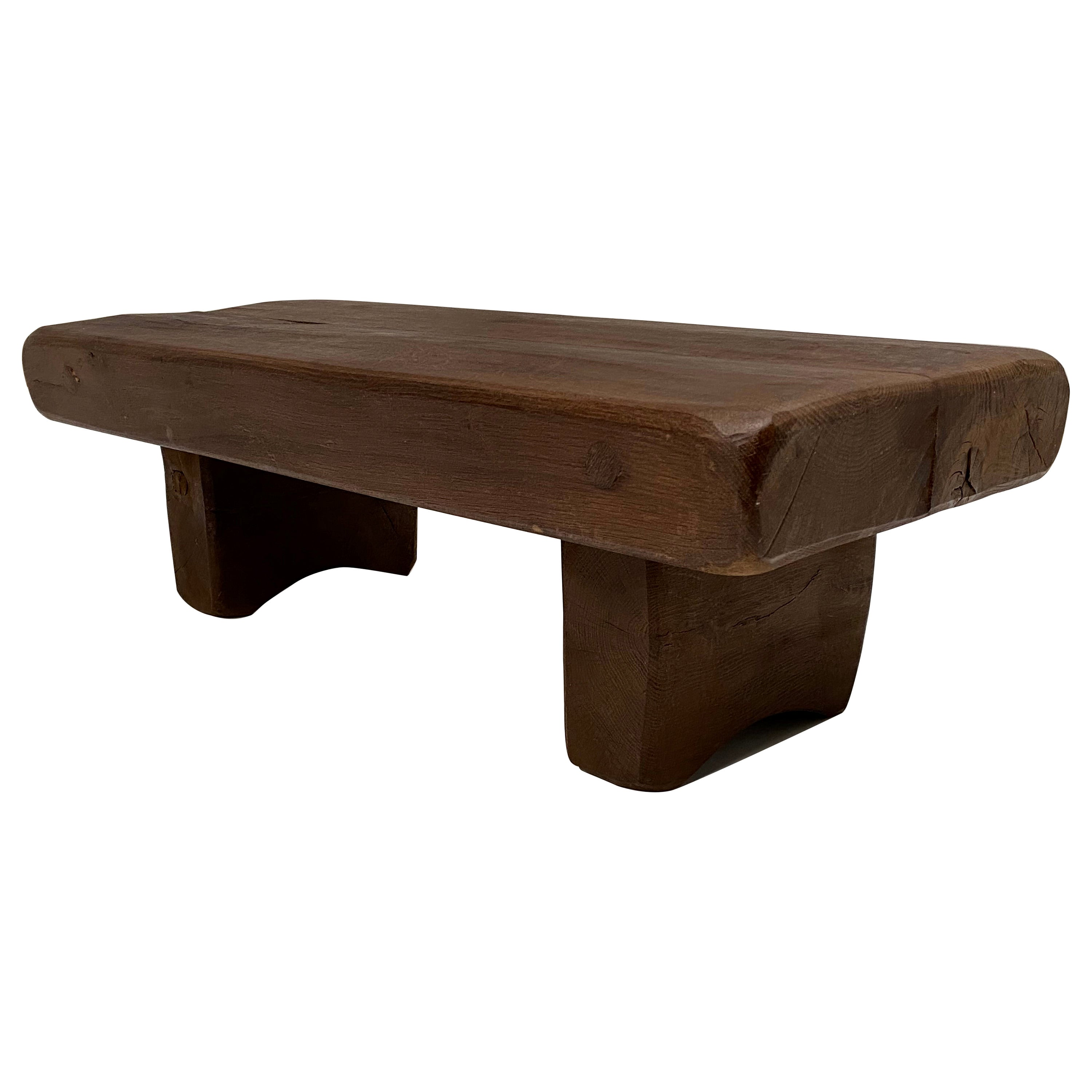 French Midcentury Solid Rustic Carved Oak Side or Coffee Table, France, 1960s