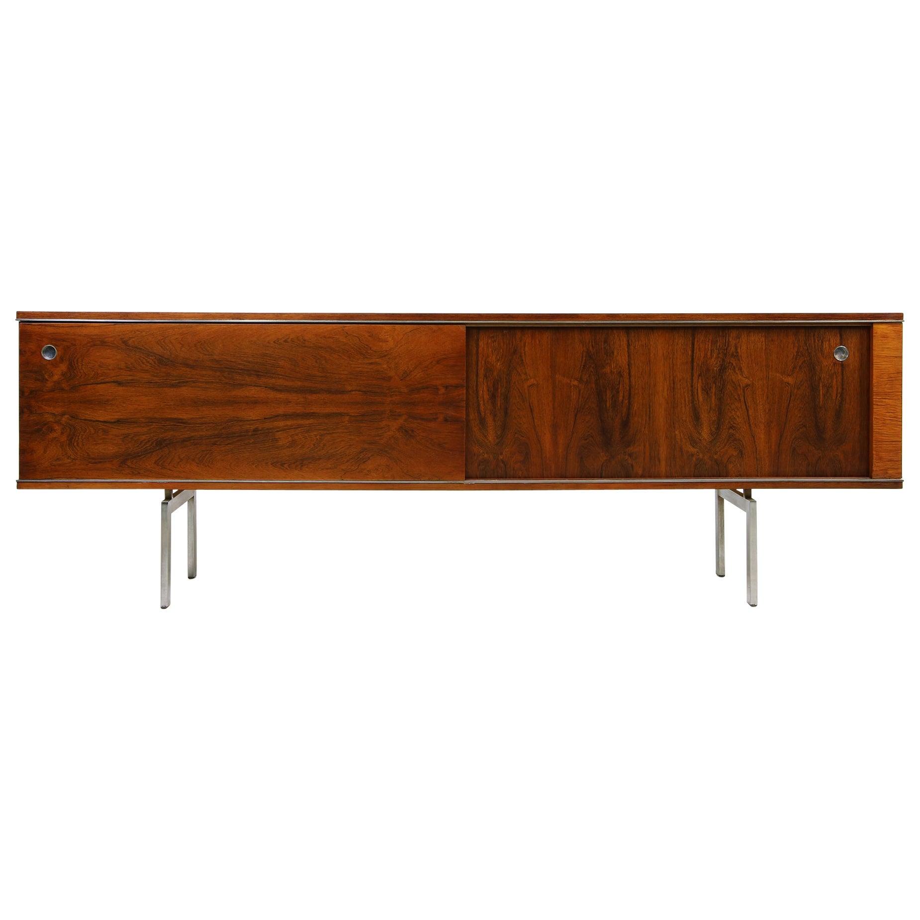 Large Vintage 1960s Sideboard Credenza, Belgium, Reversible Doors, Metal Base