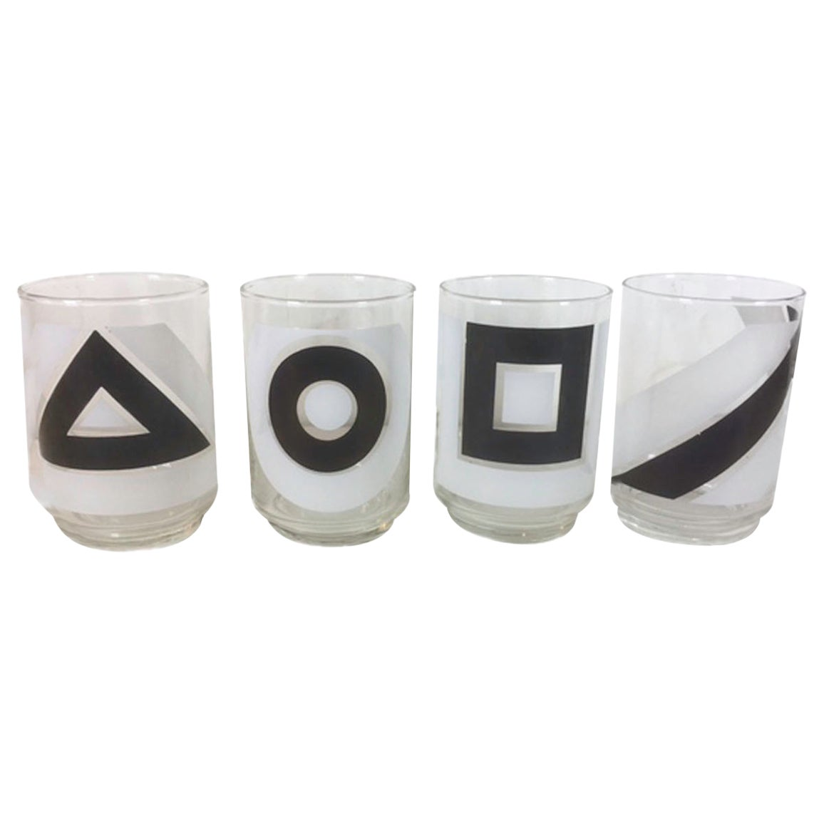 Vintage Libbey Glass, Black and White Geometric Shapes Cocktail Glasses
