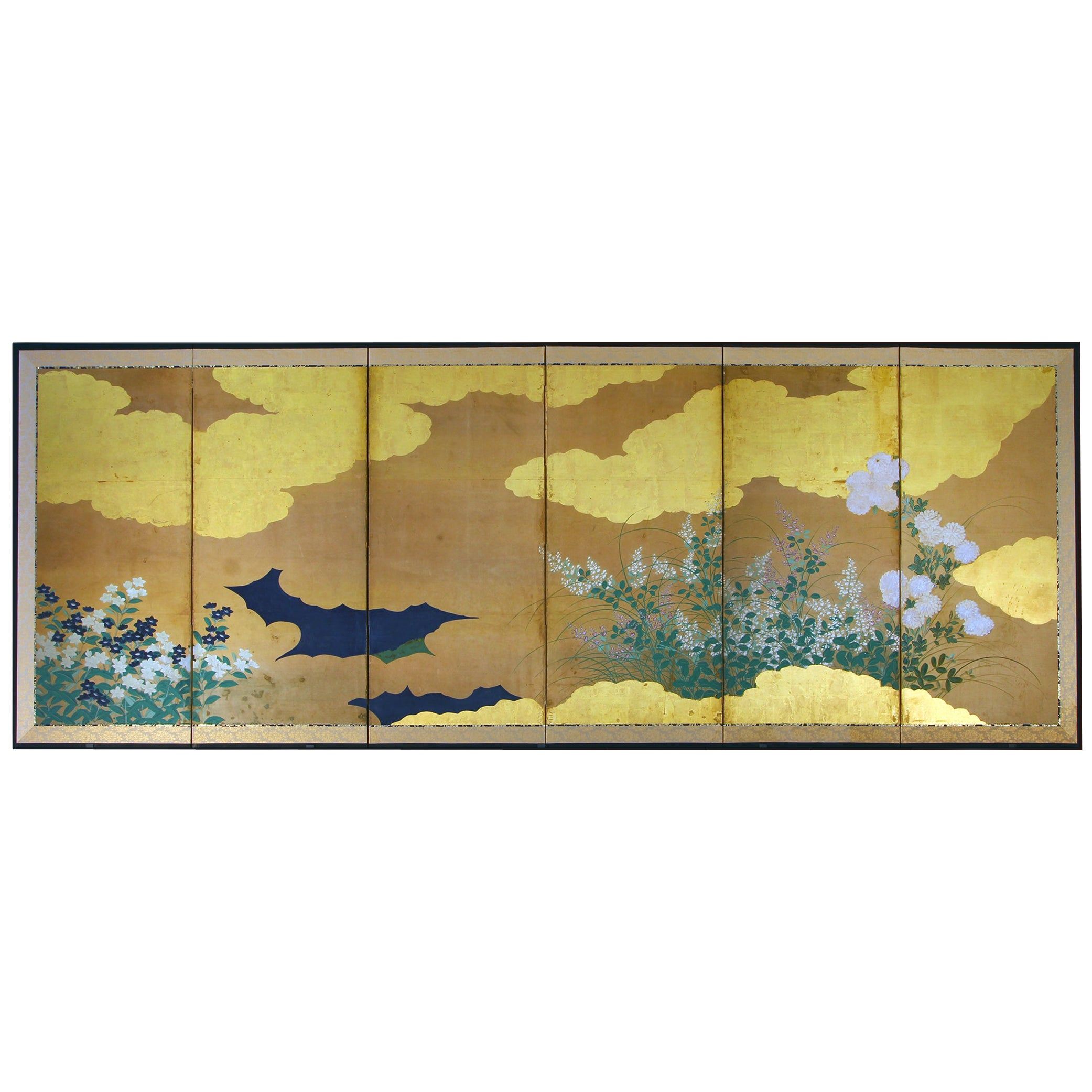 Edo Period 19th Century Japanese Folding Screen Six Panels Flowers on Gold Leaf
