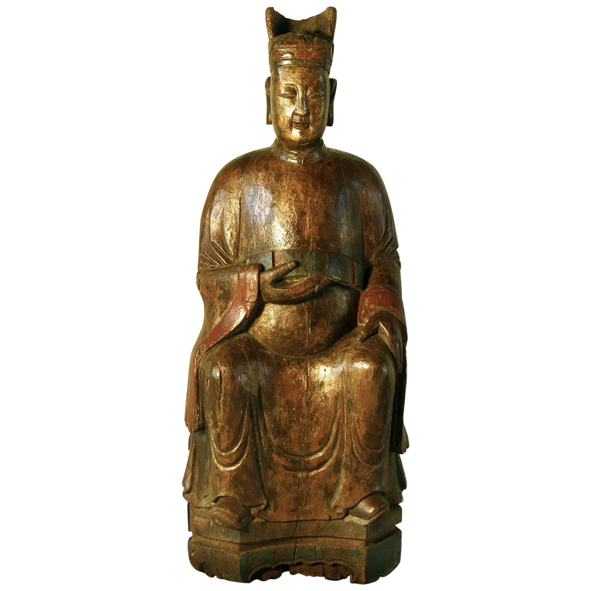 18th Century Chinese Sculpture of a Dignitary in Carved and Lacquered Hardwood