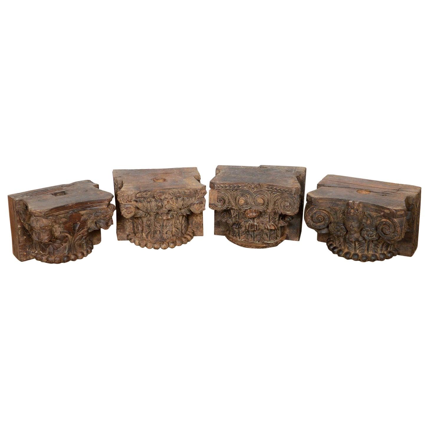 Various Foliate Hardwood Pillar Bases, 20th Century