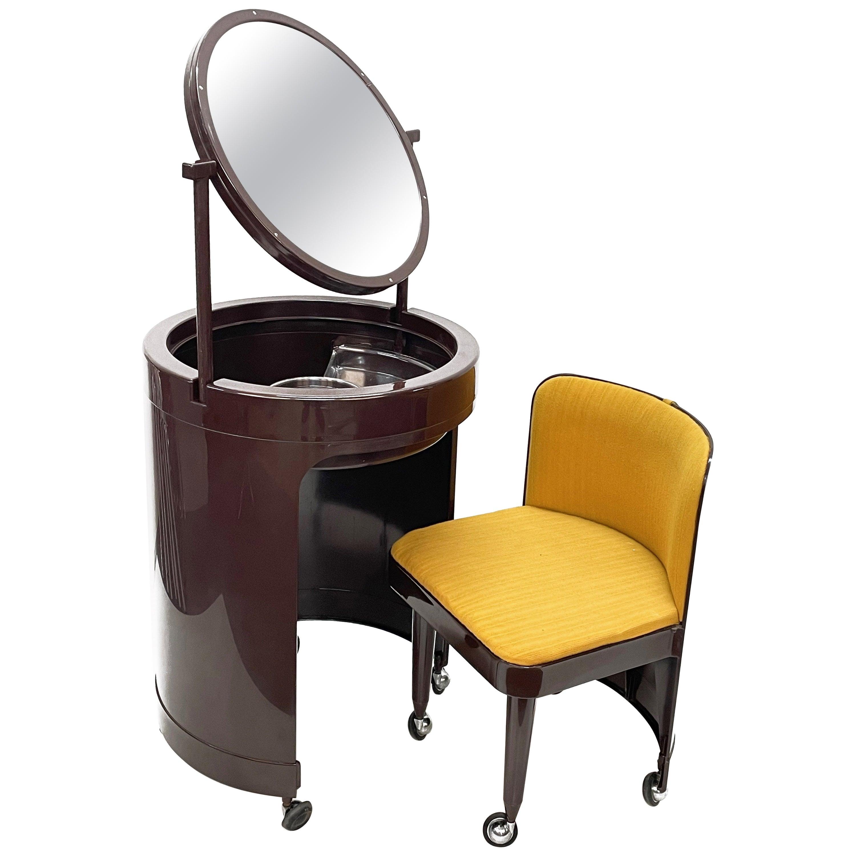 Midcentury Studio Kastilia Silvi Italian Vanity Table with Stool, 1970s