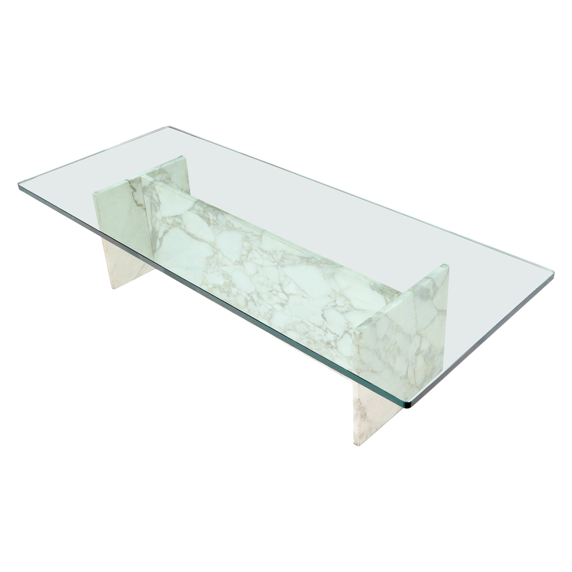 I Beam Shape Marble Base Glass Top Coffee Table