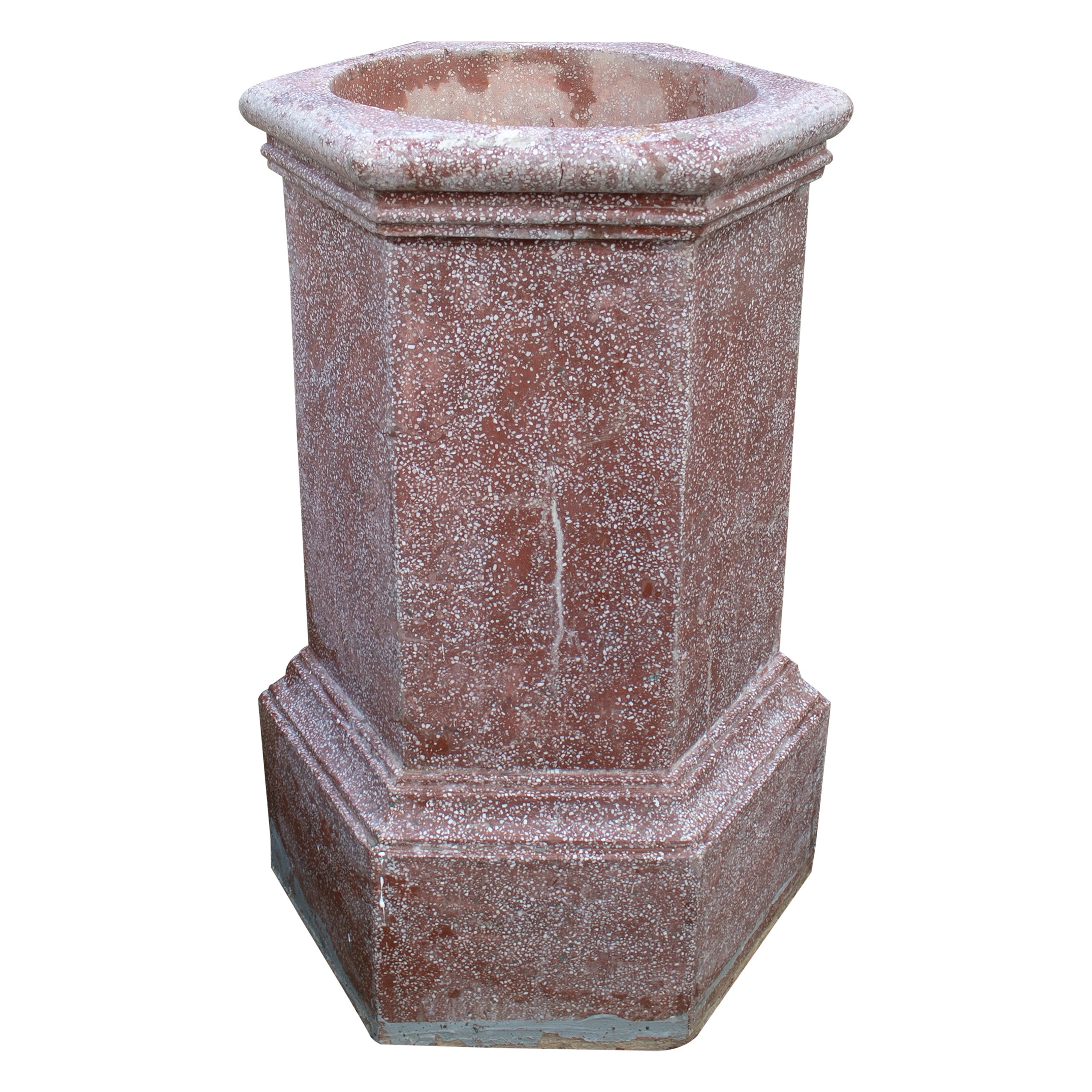 1950s Spanish Red Reconstituted Stone Wellhead