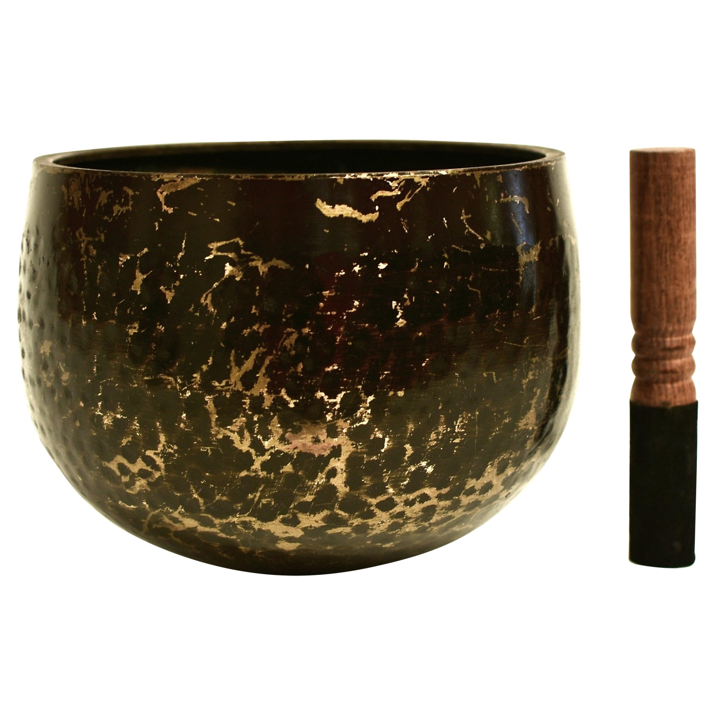 Japanese Antique Singing Bowl Hand-Hammered Bronze Large