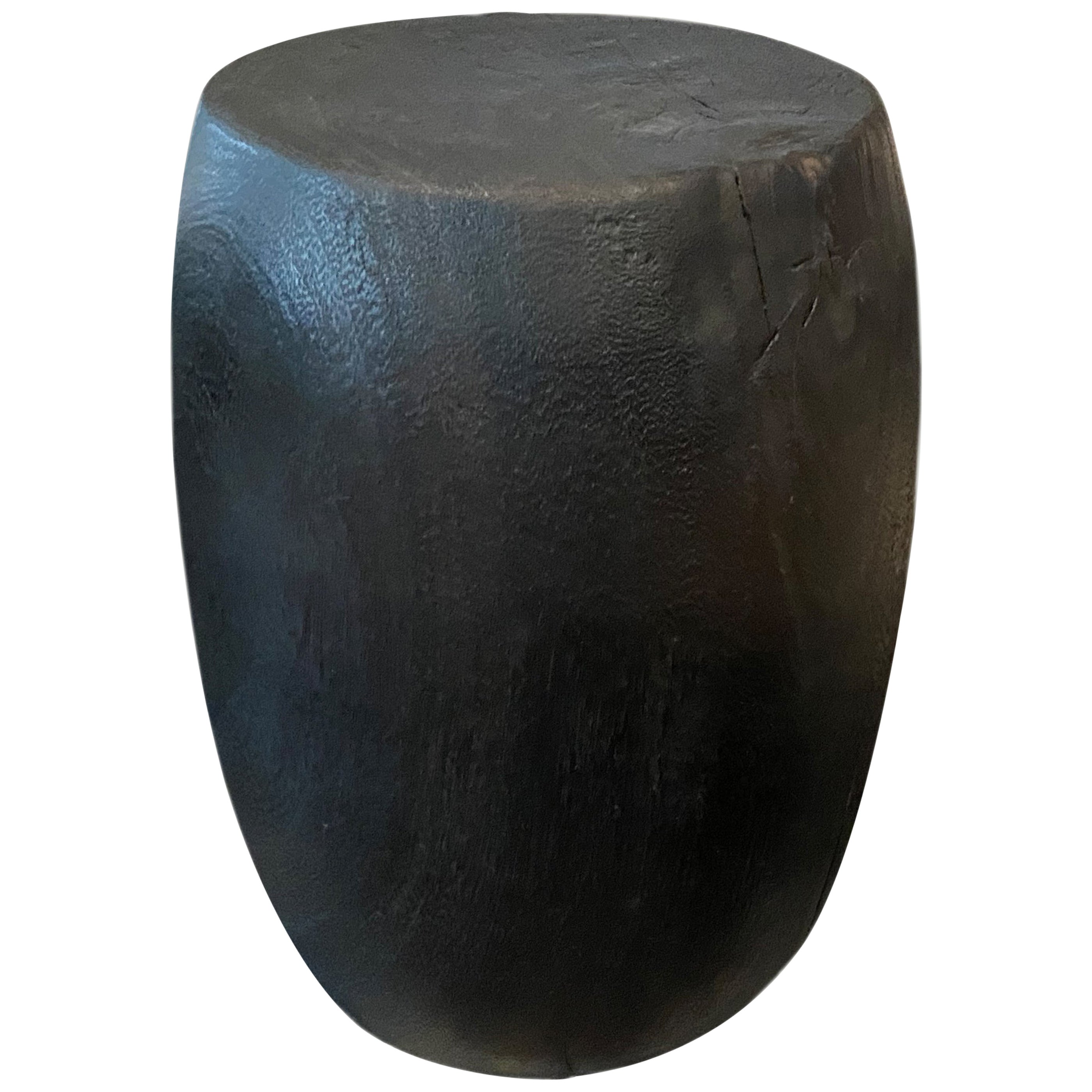 Andrianna Shamaris Charred Drum Style Teak Side Table or Stool