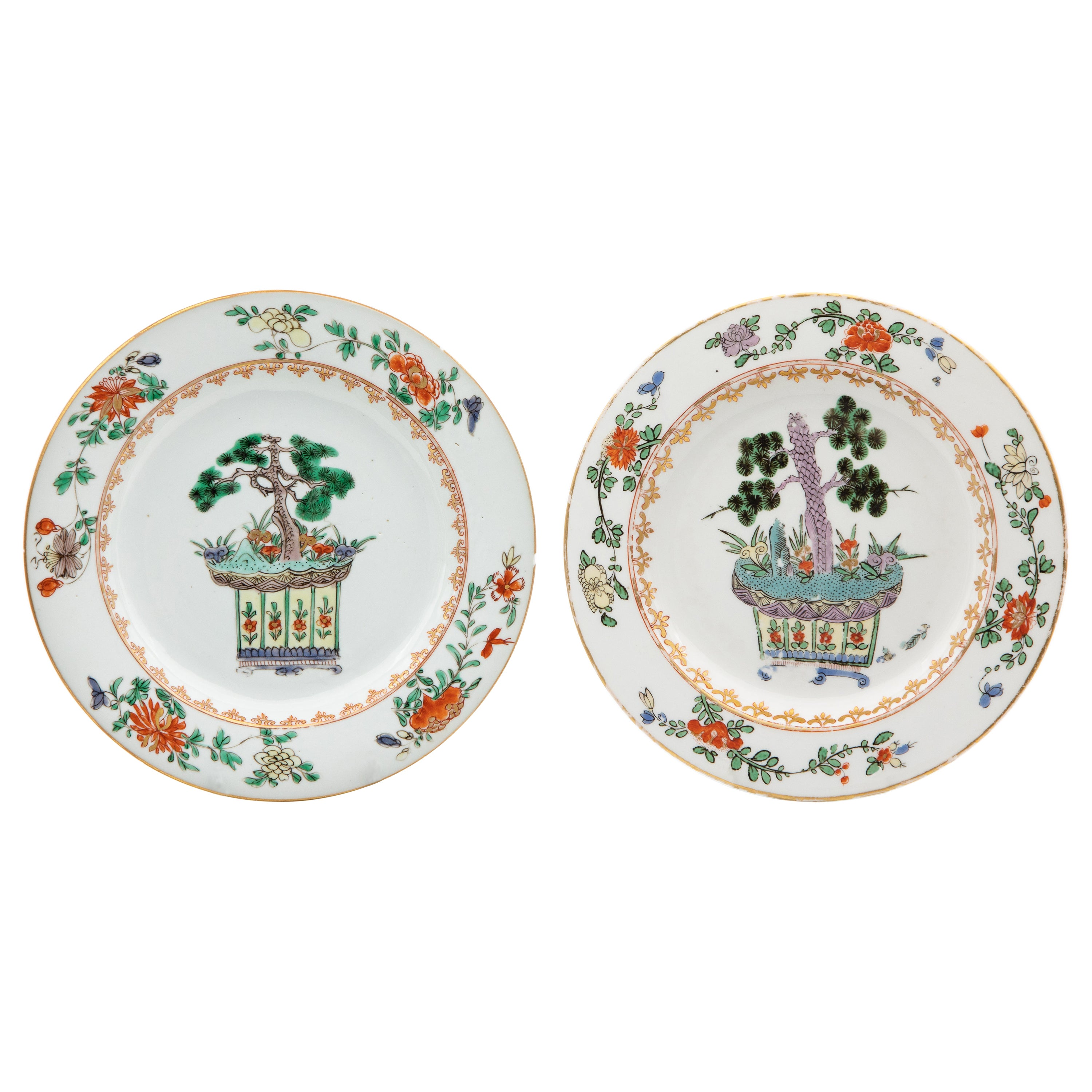 Pair of 18th Century Chinese & Meissen Famille Verte Porcelain Plates