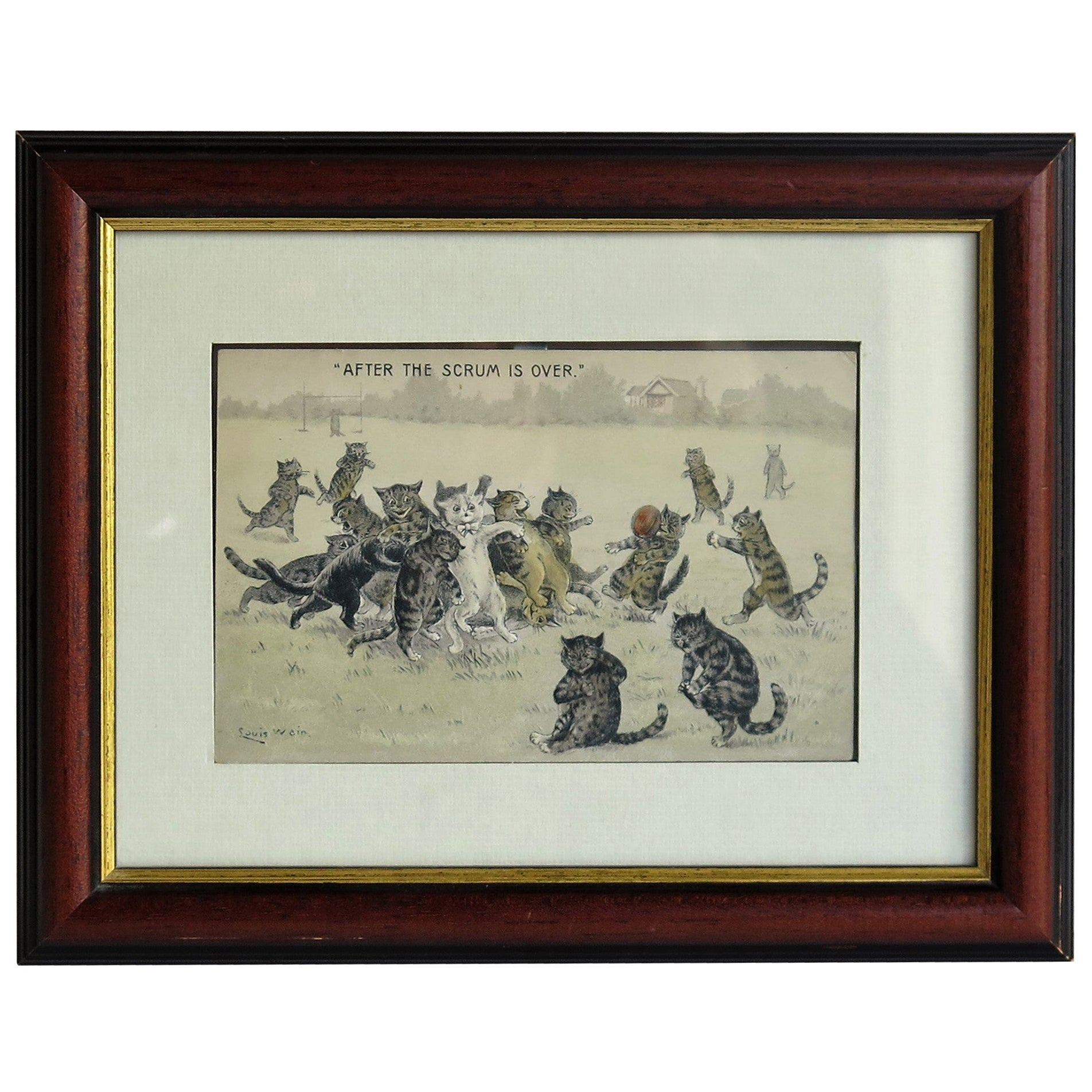 """Edwardian Louis Wain Framed Cat Postcard """"After The Scrum is Over"""", circa 1900"""