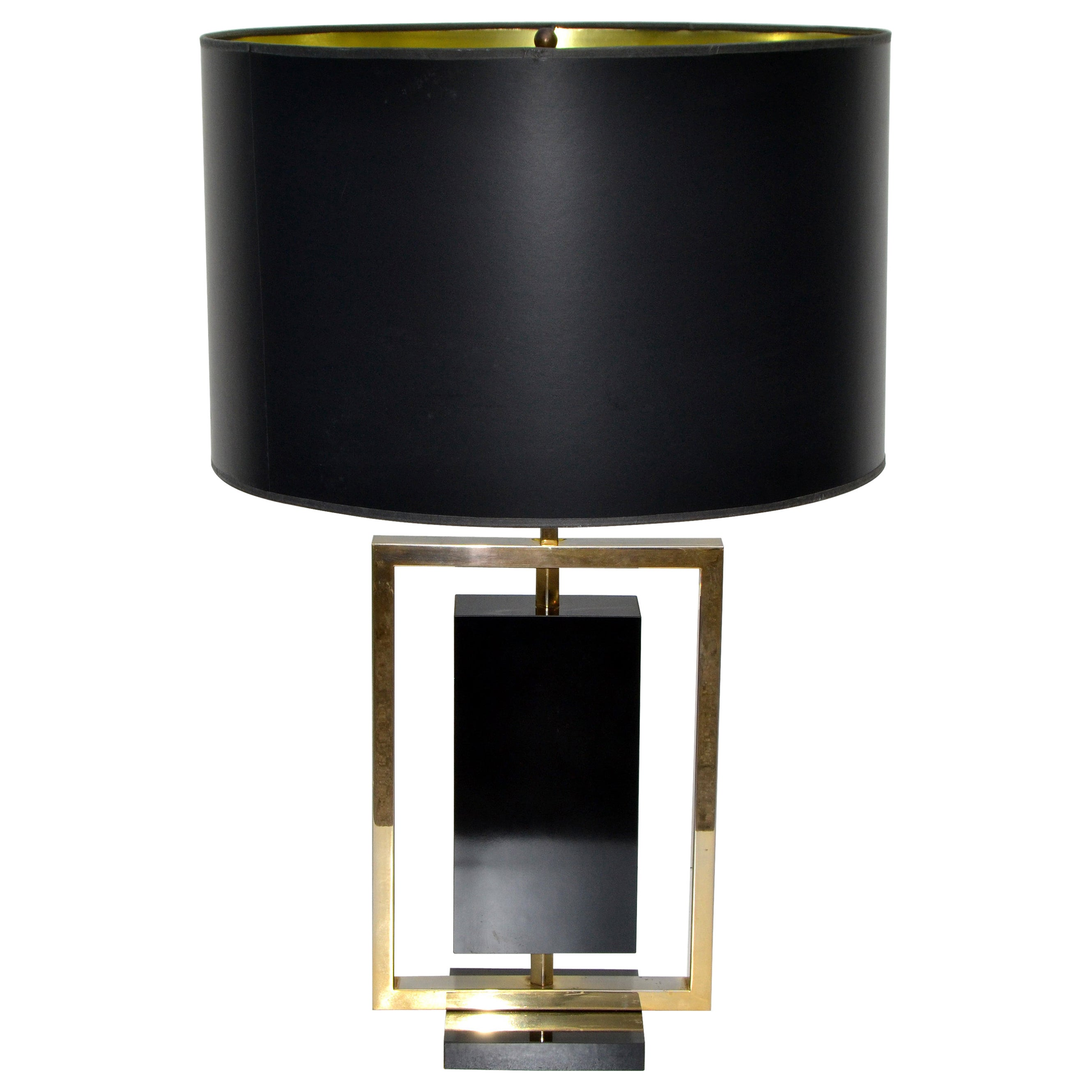 Maison Lancel Brass and Black Marble French Mid-Century Modern Table Lamp