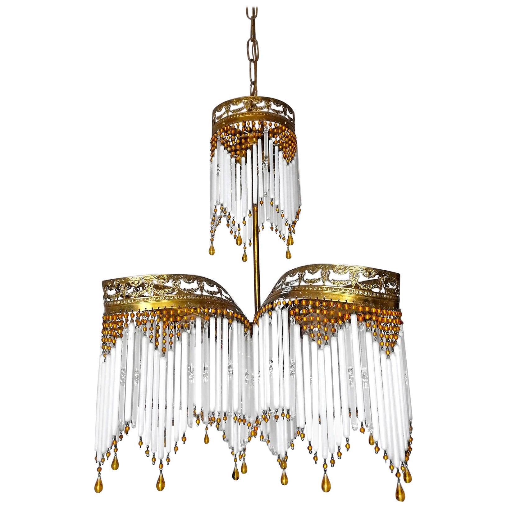 French Art Deco Art Nouveau Amber Beaded Crystal Fringe & Gilt Ornate Chandelier