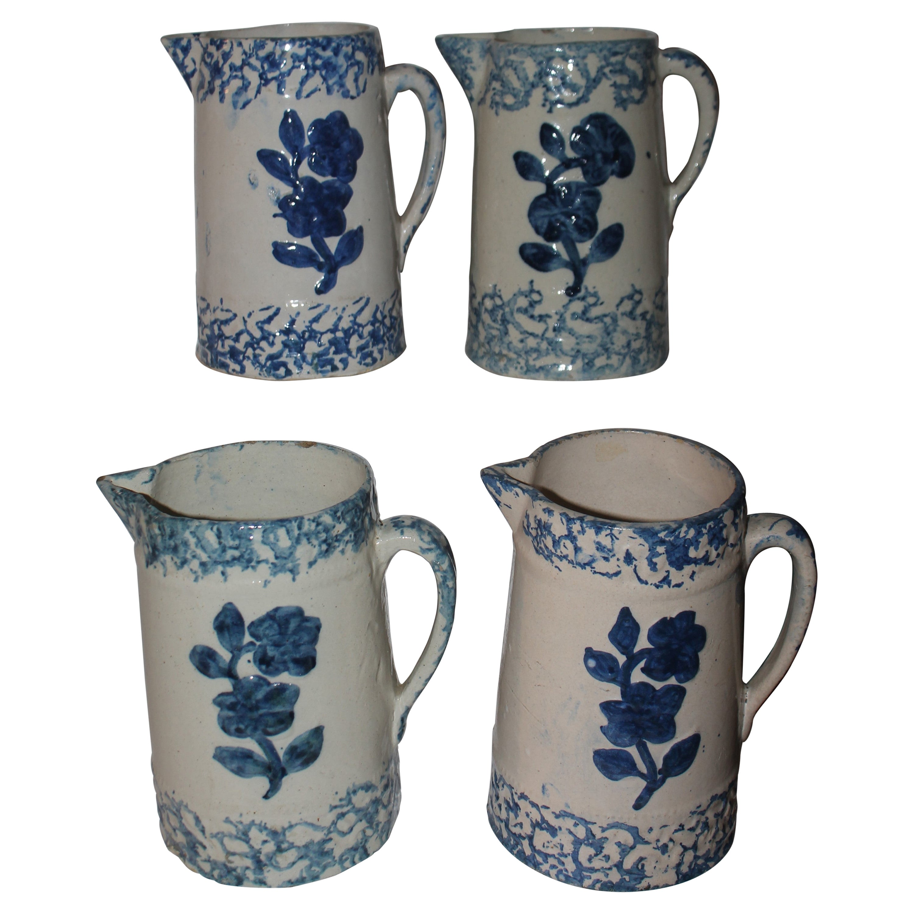 19th Century Sponge Ware Pottery Pitchers Collection of Four