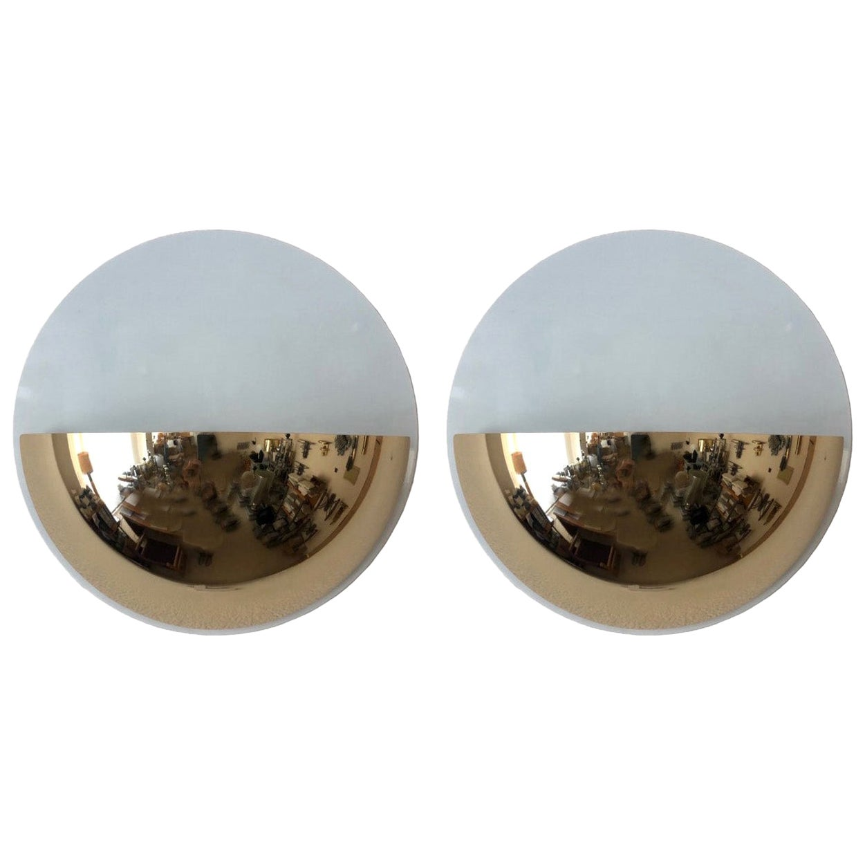 Pair of Spanish Postmodern Golden White Wall Sconces by Estiluz, 1980s