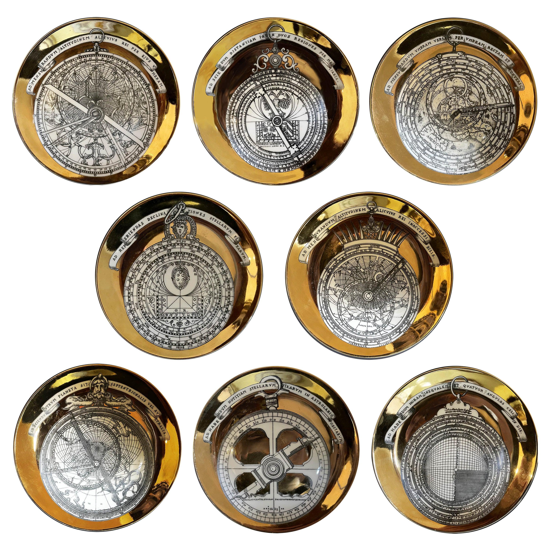 Piero Fornasetti Porcelain Set of 8 Gilted Astrolabe Plates