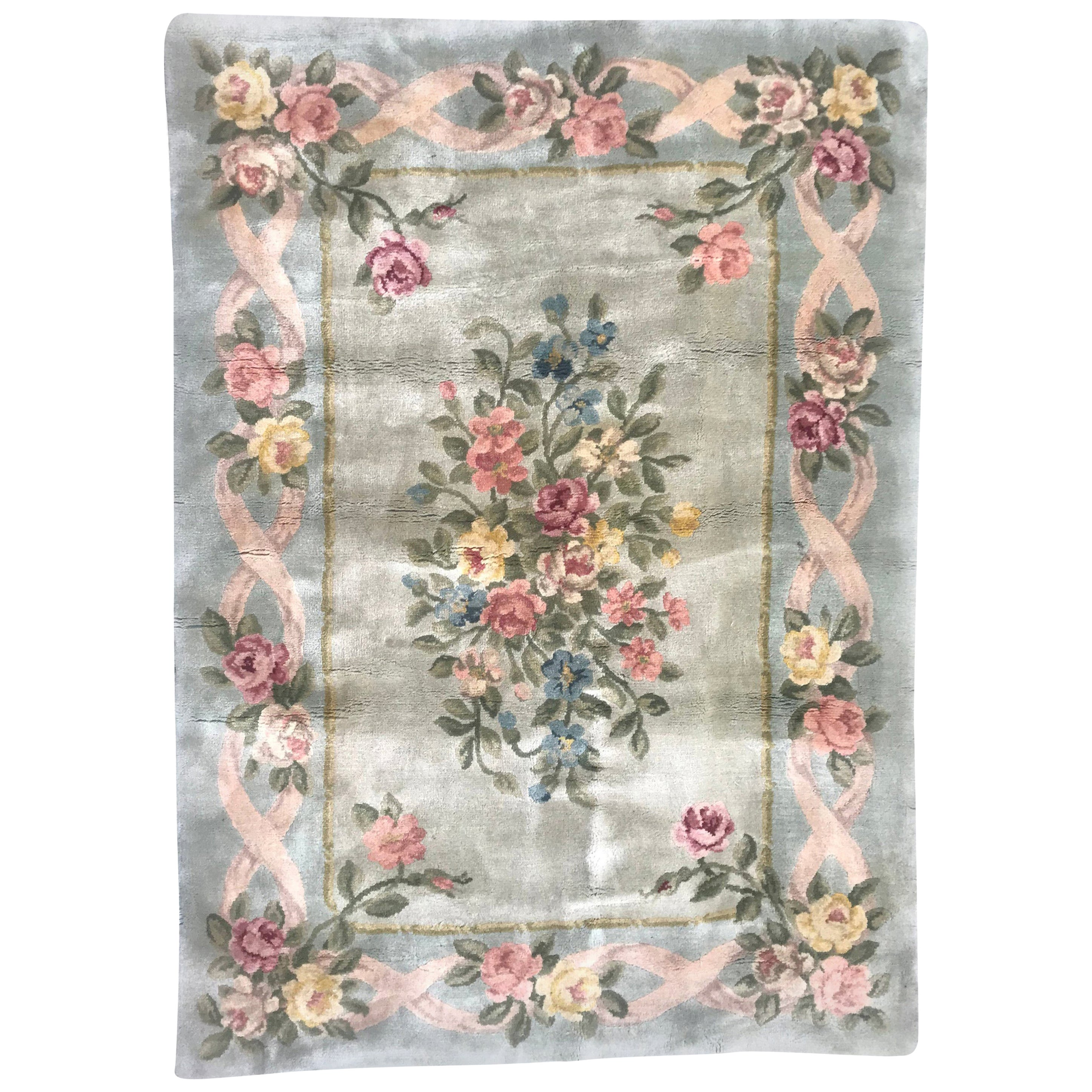 Luxurious Extremely Fine Aubusson Knotted Savonnerie Rug