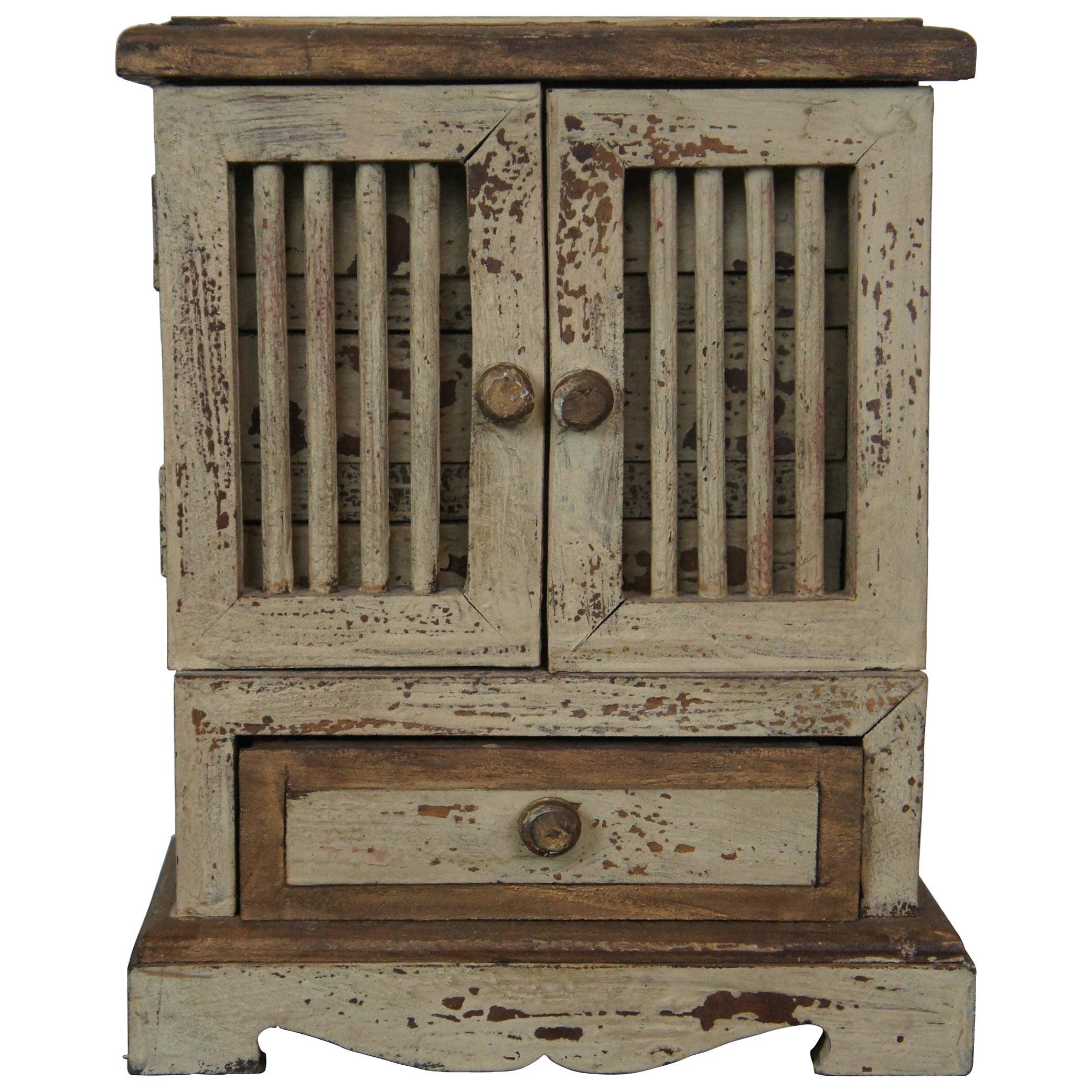 Antique Primitive Miniature Folk Art Salesman Sample Painted Mahogany Cabinet