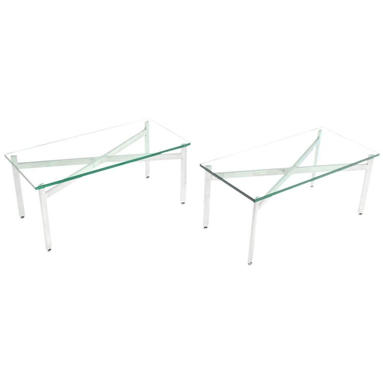 Pair of rectangular X Base Glass Tops Coffee Side Tables Stands.