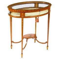 Antique Edwardian Satinwood Bijouterie Display Table 1900s
