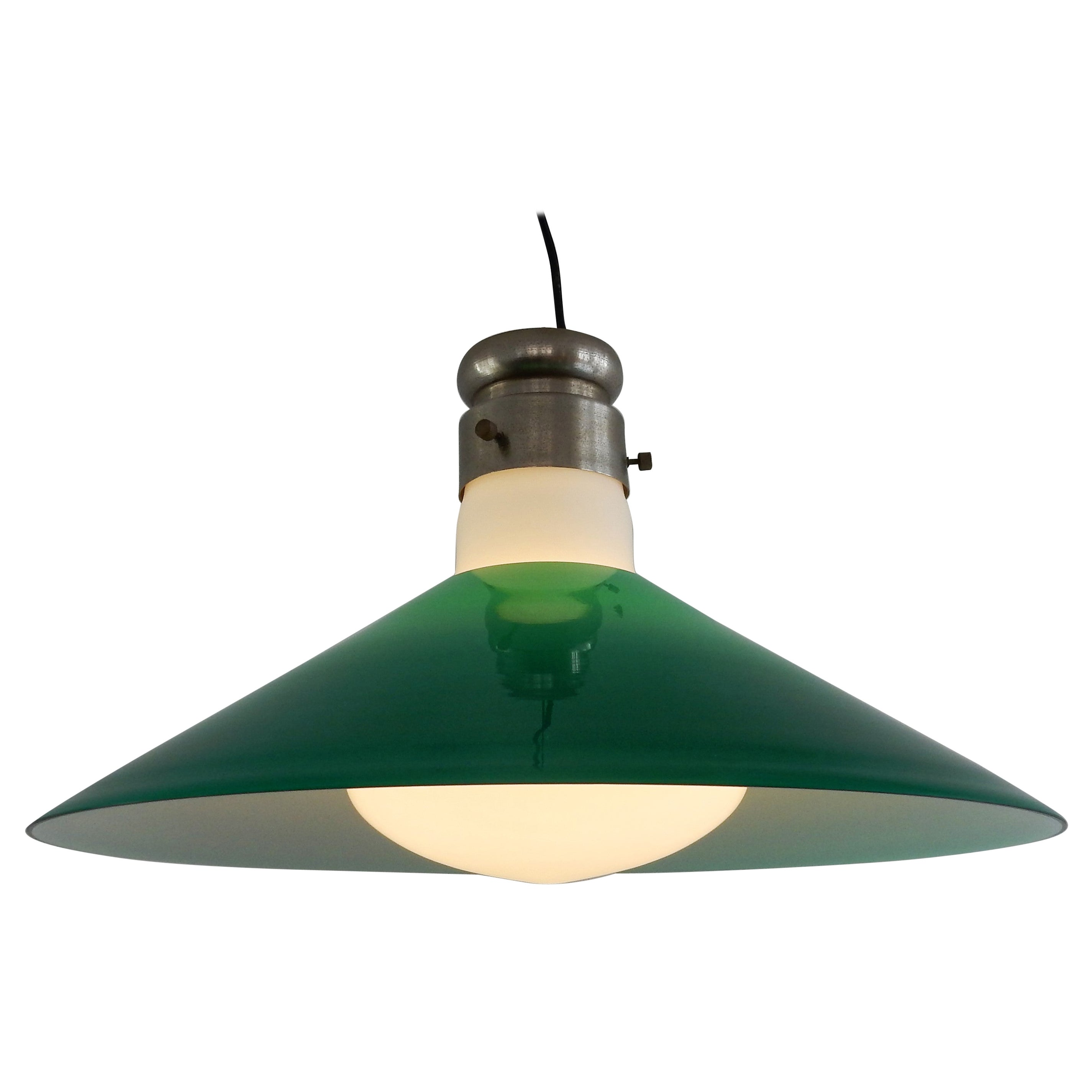 Green Murano Glass Pendant Lamp by Alessandro Pianon, for Vistosi, Italy, 1960s