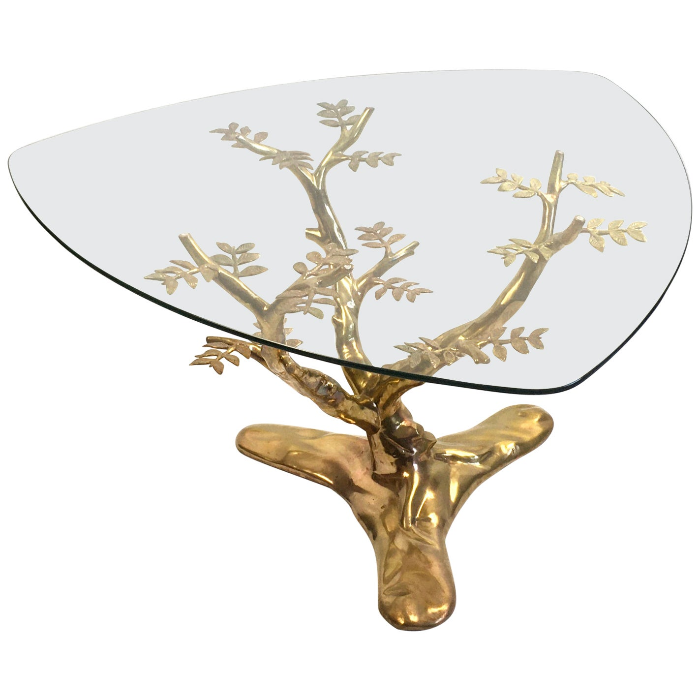 1970s Willy Daro Brass and Glass Tree Coffee Table, Belgium