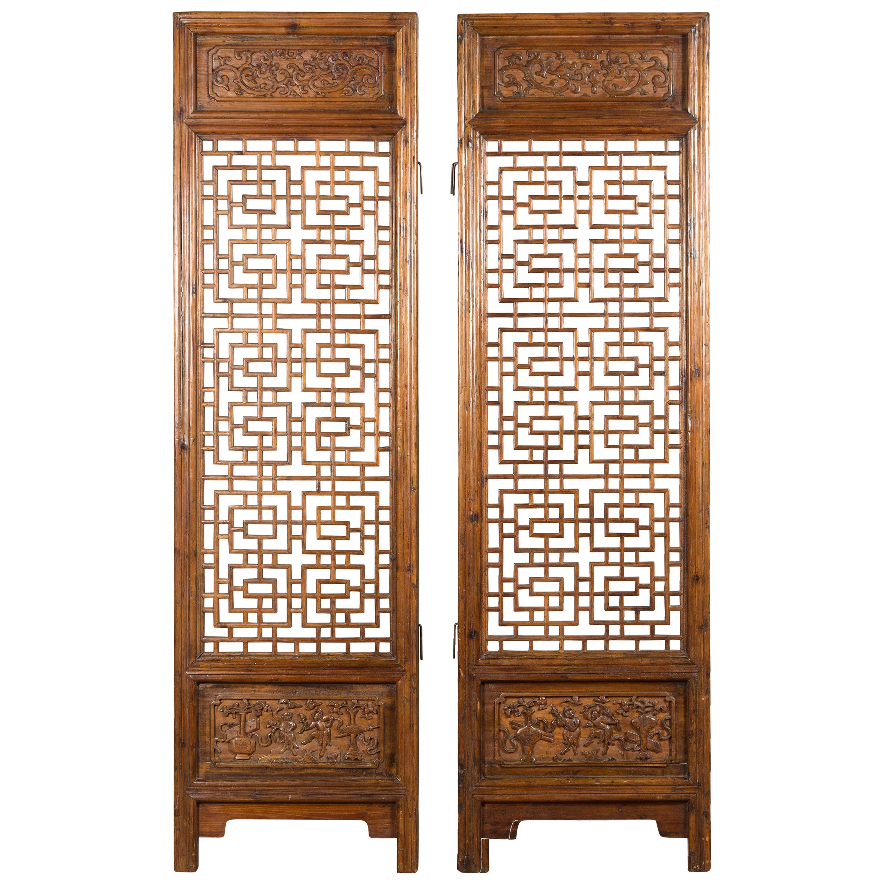 Pair of Chinese 19th Century Screens with Fretwork and Low-Relief Carved Panels