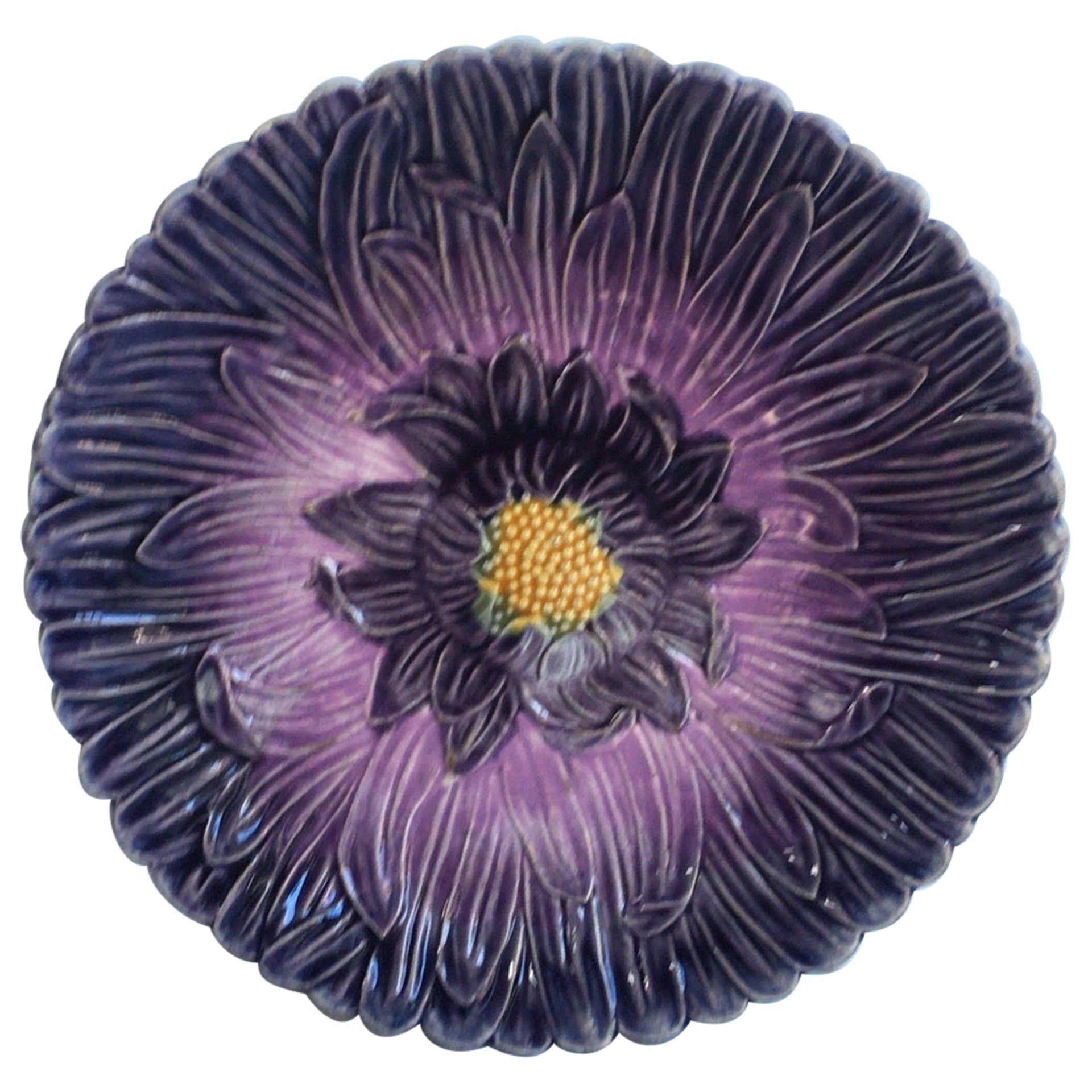French Majolica Purple Daisy Plate Orchies, circa 1890
