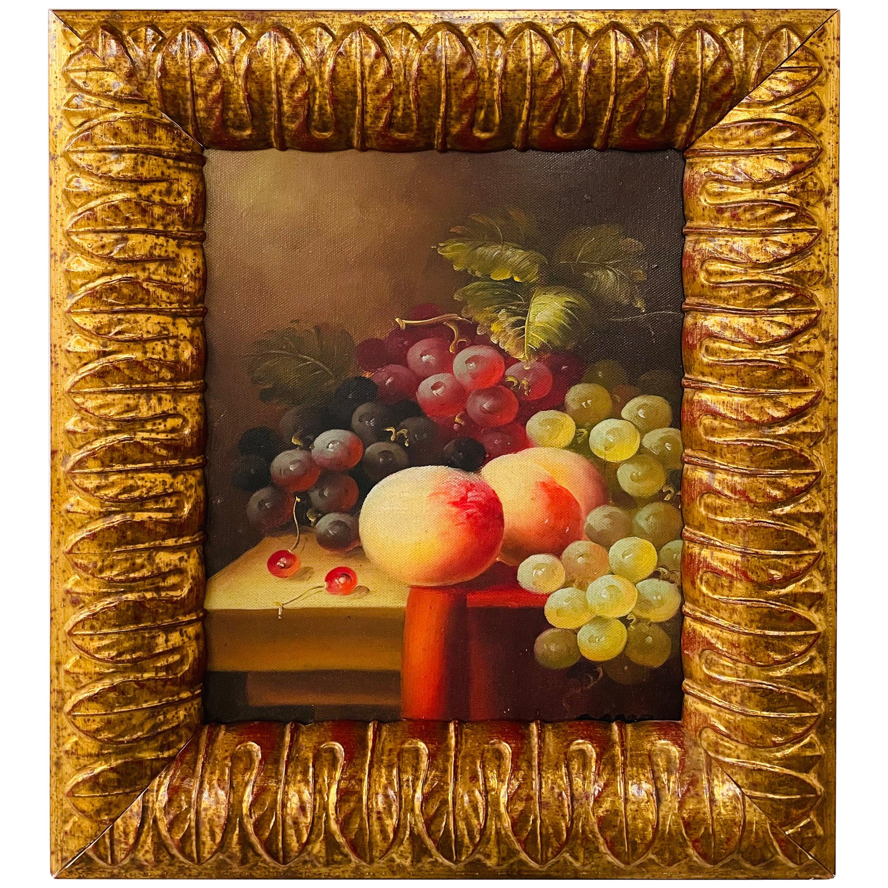Vintage Oil on Canvas Still Life Fruit Painting, Framed