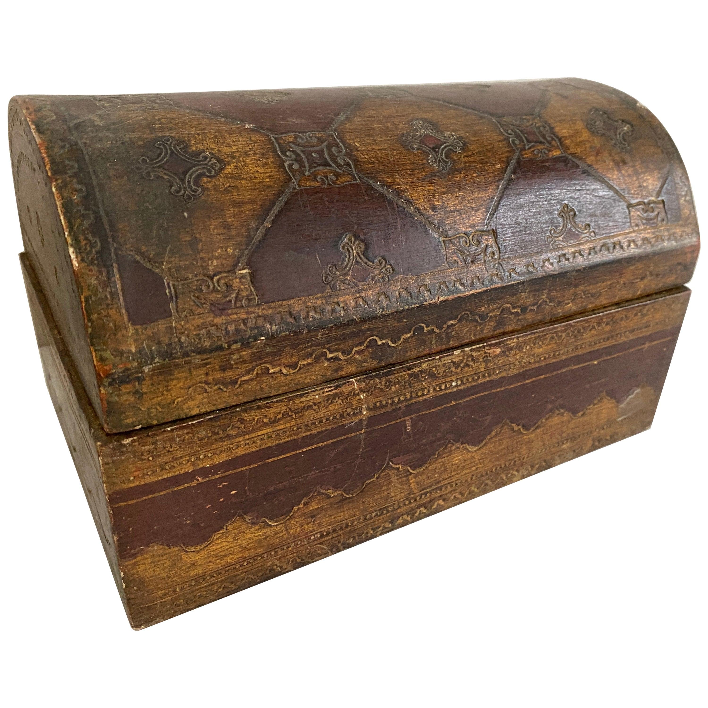 Italian Florentine Giltwood Domed Shaped Box