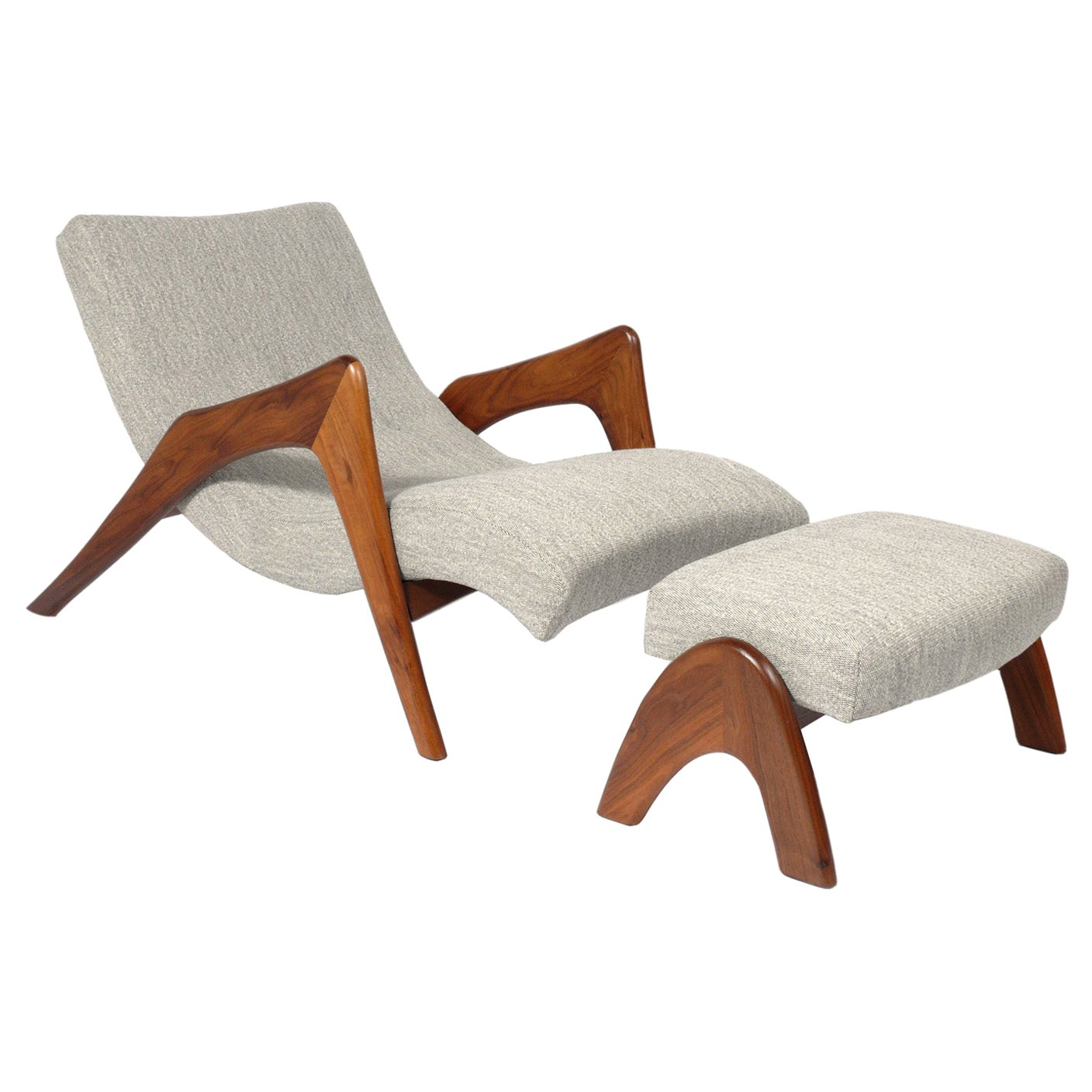 Adrian Pearsall Chaise Lounge Chair and Ottoman