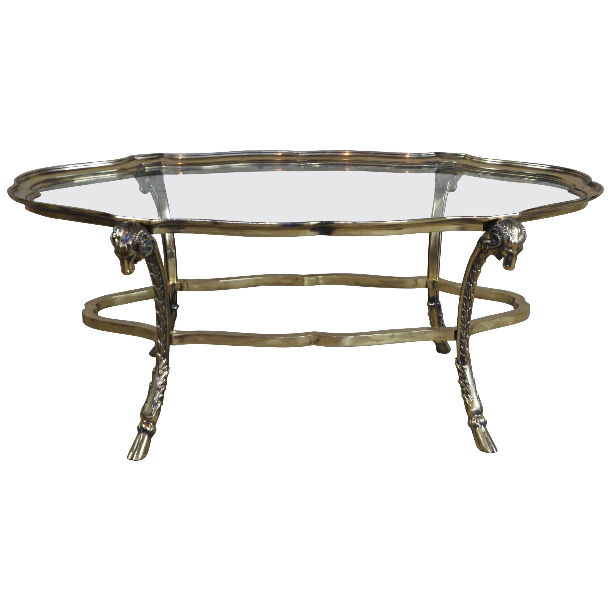 La Barge Figural Rams Head Oval Scallop Glass Coffee Table Maison Charles Style