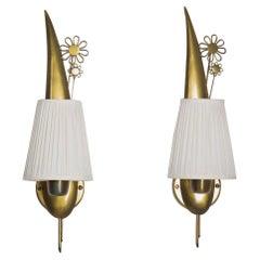 Swedish Modern Wall Lamps in Brass