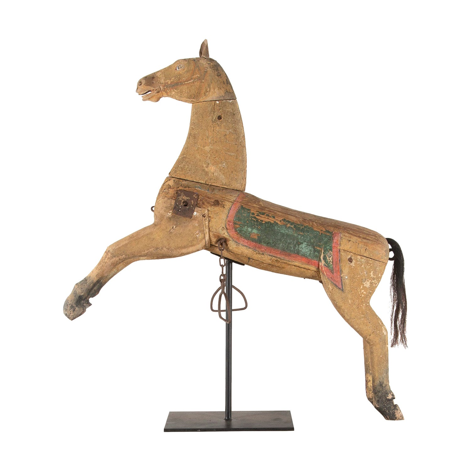 Folk Art Decorative Carved Wooden Horse in Original Paint