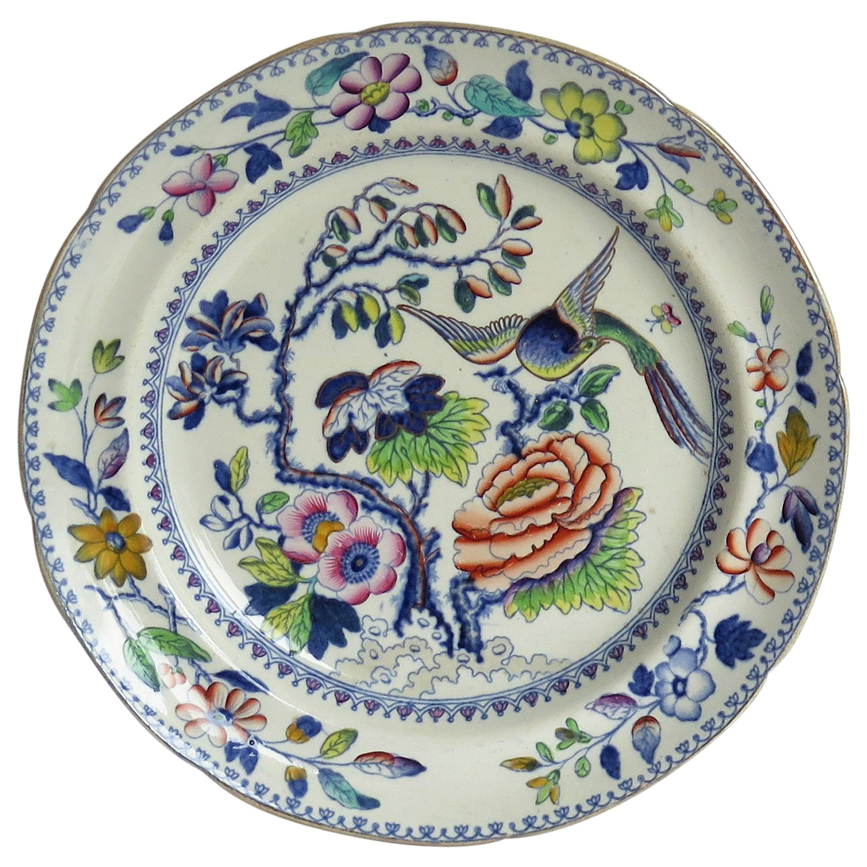 Georgian Ironstone Dinner Plate by Hicks Meigh & Johnson in Flying Bird Pattern