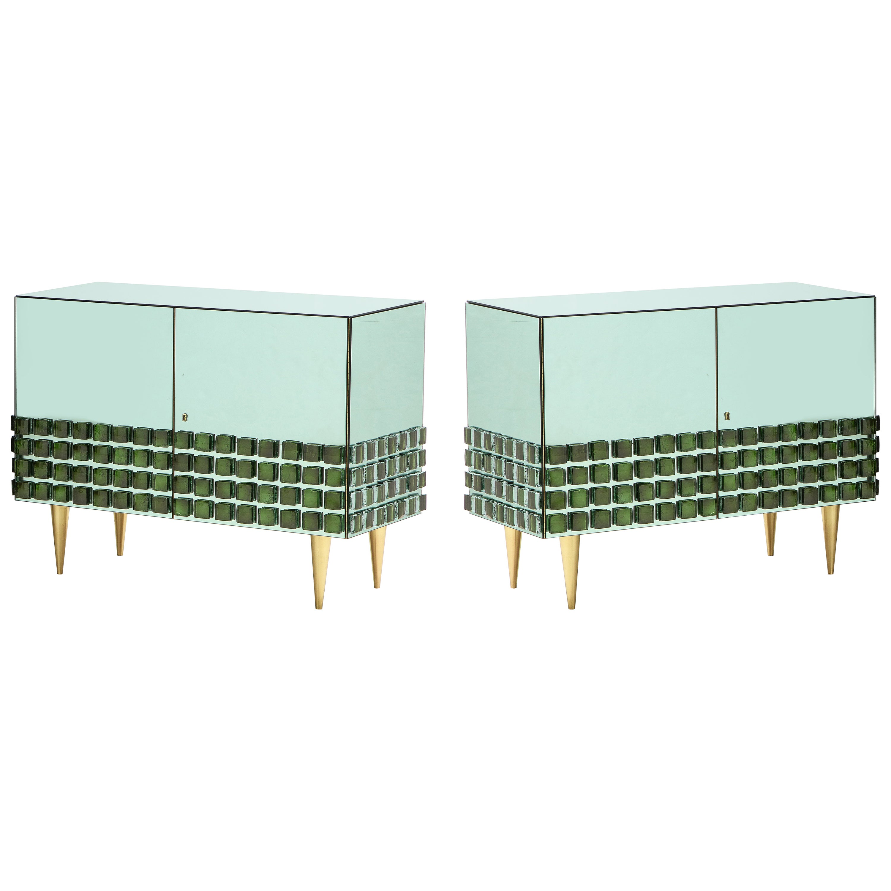 Pair of Emerald Green Mirrored Murano Glass and Brass Sideboards, Italy, 2021