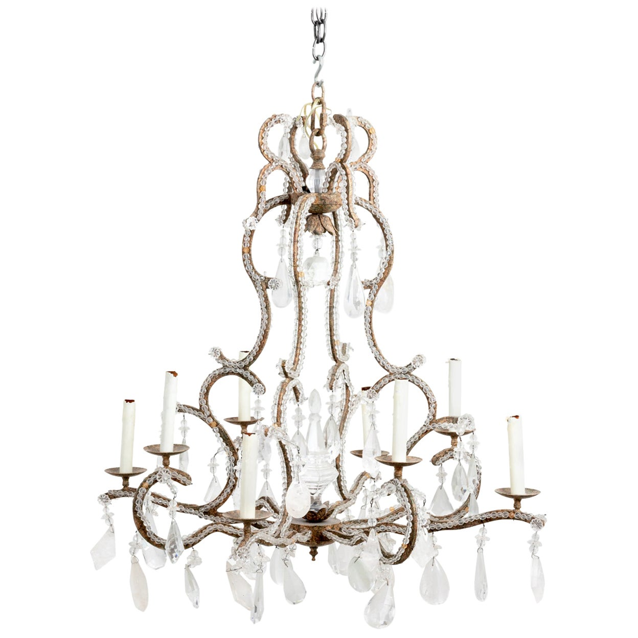 Large Beaded Chandelier Hung with Rock Crystal Pendants and Crystal Pendants