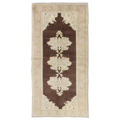 Brown Background Vintage Turkish Oushak Runner with Medallions in Cream & Ivory