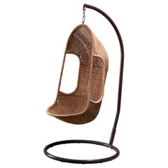 Free Standing Hanging Basket Chair in Cane