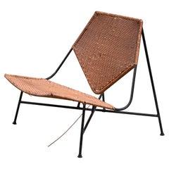 Arthur Umanoff Metal and Rattan Lounge Chair