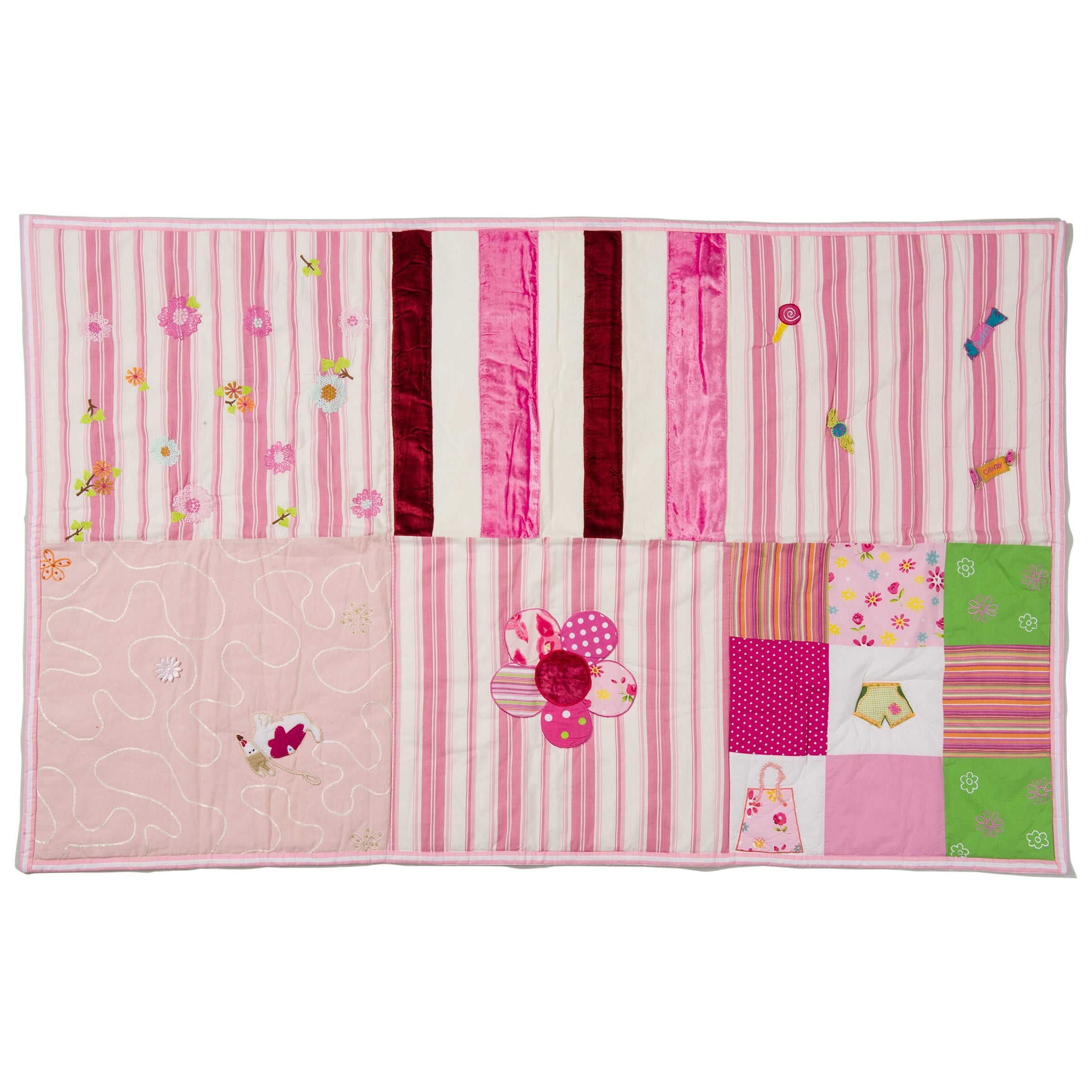 Padded Blanket Quilt Patchwork for Baby Girl