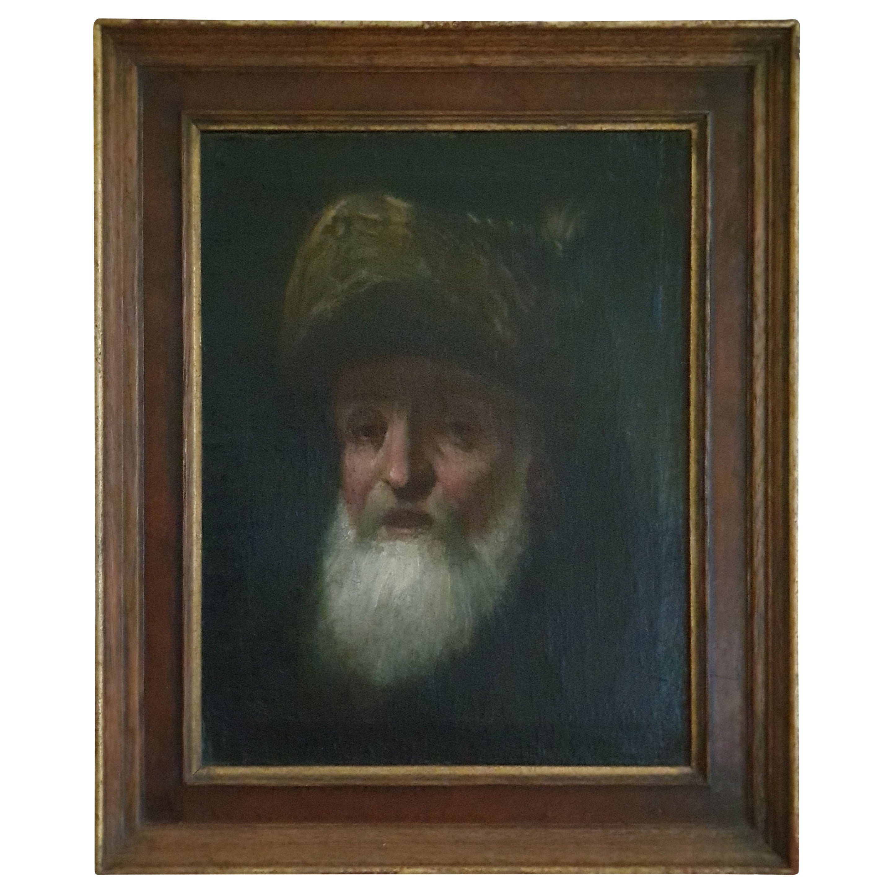 Hand Painted Dutch Painting Executed In The Style of Rembrandt Depicting A Rabbi